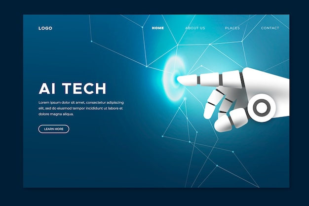 Artificial intelligence hand landing page