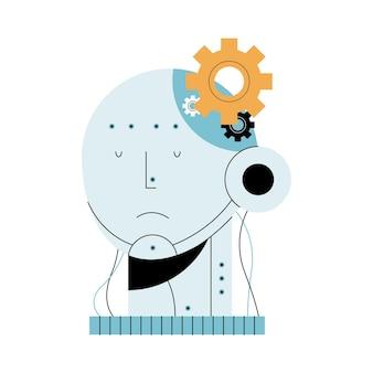 人工知能ヘッドロボットとギア