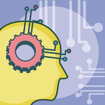 Artificial intelligence head silhouette