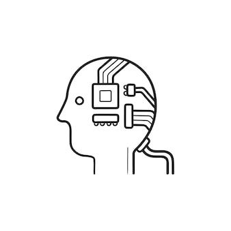 칩 손으로 그린 개요 낙서 아이콘이 있는 인공 지능 머리. 기계 지능 프로세서 개념입니다. 인쇄, 웹, 모바일 및 흰색 배경에 인포 그래픽에 대한 벡터 스케치 그림.