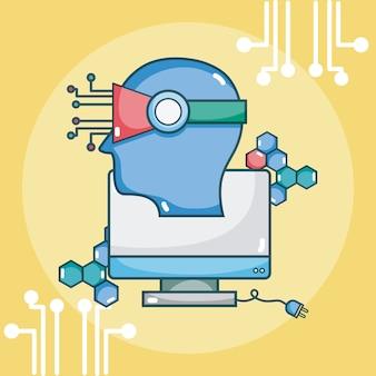 スクリーン付き人工知能頭部