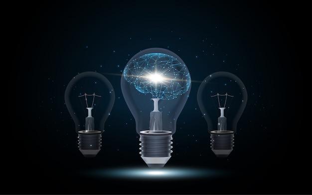 Artificial intelligence human brain inside lightbulb