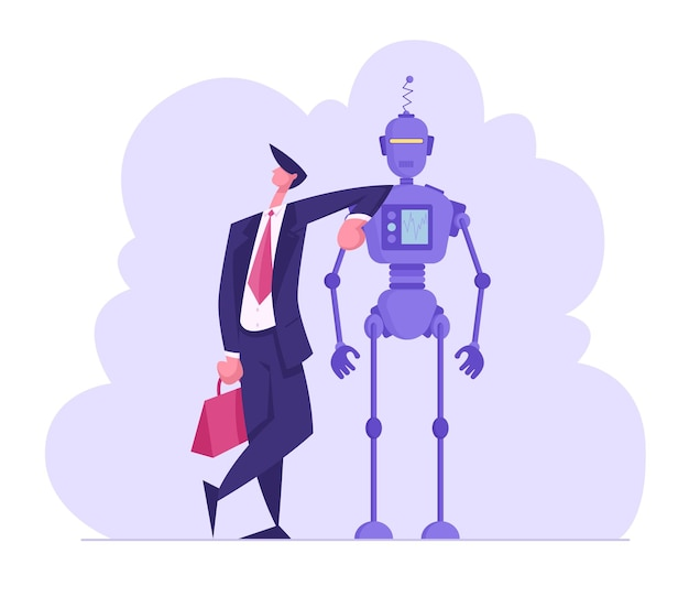 Artificial intelligence and human communication concept businessman lean on robot