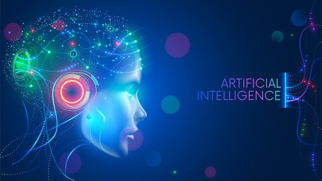 Artificial intelligence in humanoid head with neural network thinks. ai with digital brain