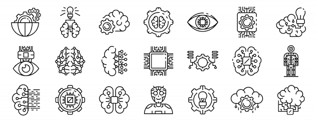 Artificial intelligence icons set, outline style