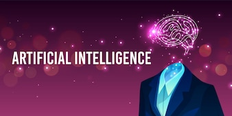 Artificial intelligence illustration of human brain in suit and digital mind.