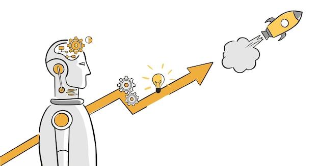 Artificial intelligence impact on business progress -   illustration