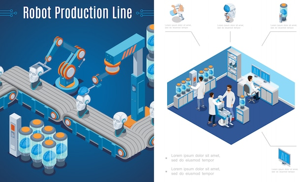 Artificial intelligence invention composition with robots production line and scientists create cyborgs in laboratory in isometric style
