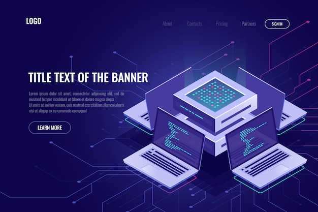 Artificial intelligence isometric abstract banner, neural network, server computers