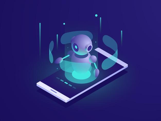 Искусственный интеллект, изометрический робот на экране мобильного телефона, приложение чатбота