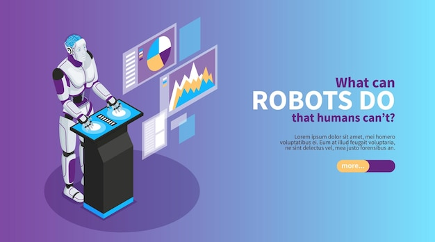 Artificial intelligence  isometric banner with robot benefits symbols   illustration