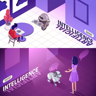 Artificial intelligence isometric banners