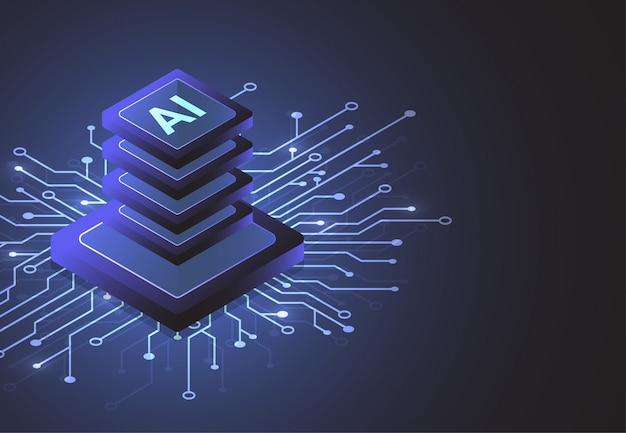 Изометрический чипсет искусственного интеллекта на плате в футуристической концепции технологии