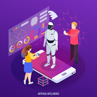 Artificial intelligence isometric composition human characters and robot on mobile device screen on purple