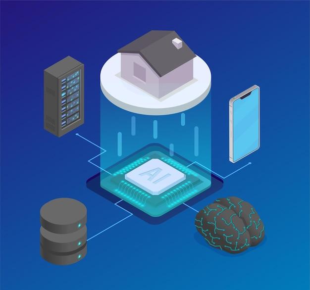 Изометрическая композиция искусственного интеллекта с блок-схемой кремниевого чипа и серверного оборудования со смартфоном и домом
