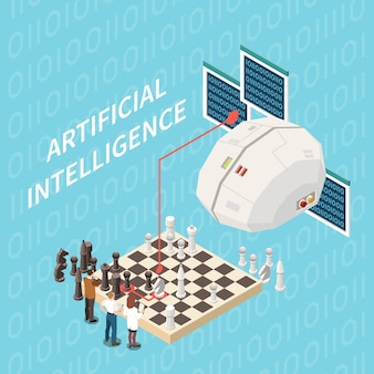 Artificial intelligence isometric composition with tech brain image playing chess with group of scientists with text
