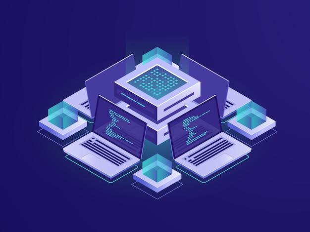 Изометрические иконки искусственного интеллекта, серверная комната, центр обработки данных и концепция базы данных