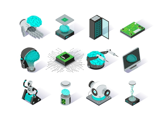 Artificial intelligence isometric icons set.