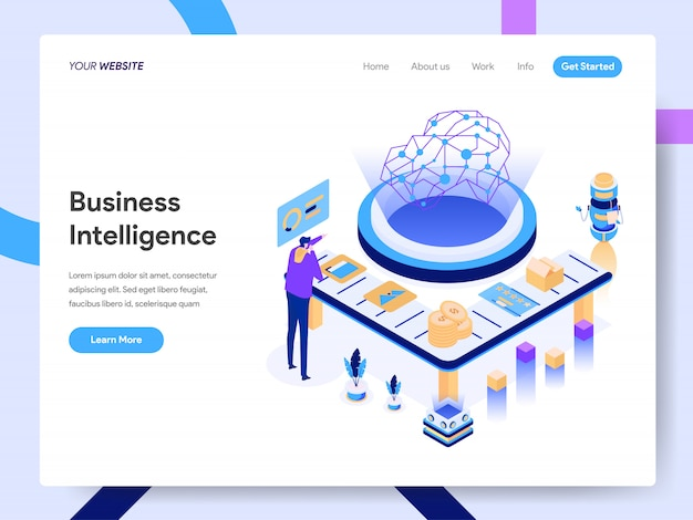 Artificial intelligence isometric illustration for website page