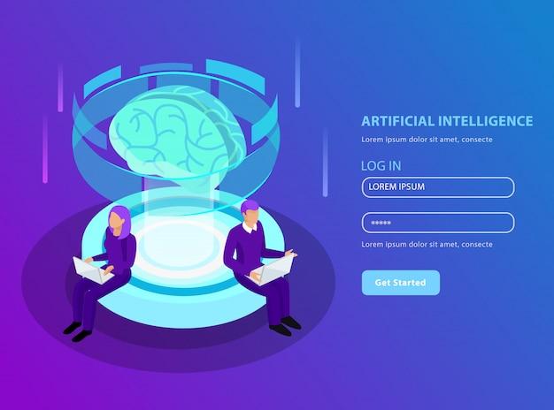 Изометрический искусственный интеллект в формате целевой страницы со светящимся макетом мозга