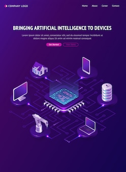Artificial intelligence isometric landing page, ai