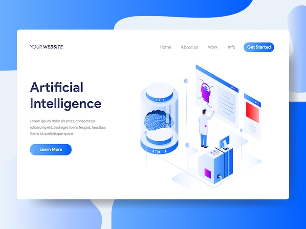 Artificial intelligence isometric  for website page