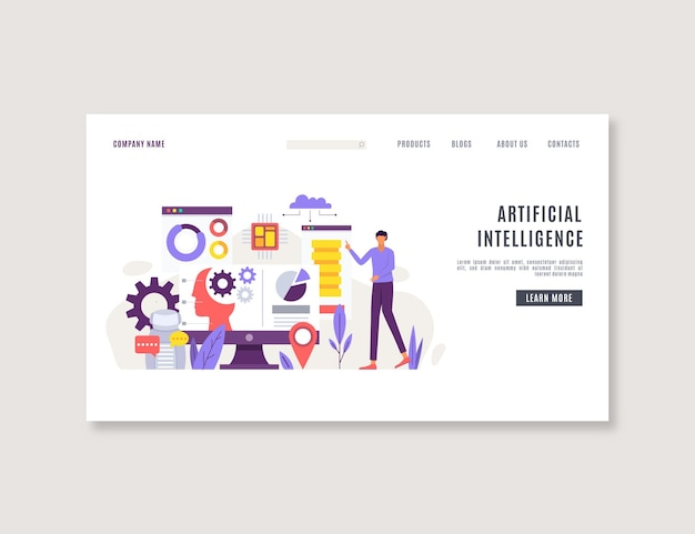 Artificial intelligence landing page design template