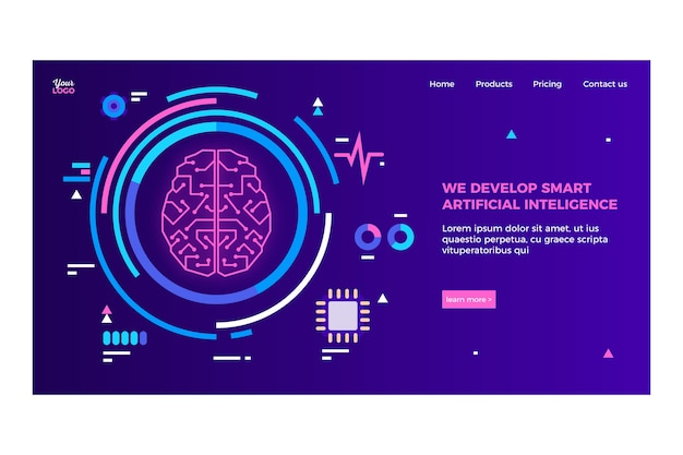 Artificial intelligence landing page template