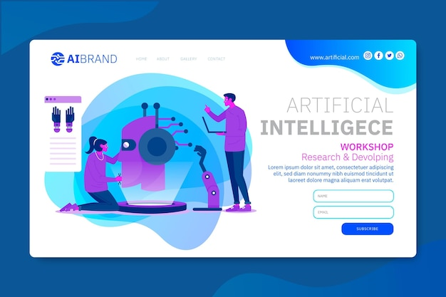 Artificial intelligence landing page web template