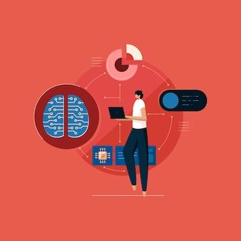 노트북 컴퓨터로 빅 데이터 작업을 하는 디지털 두뇌와 회로 프로그래머로 인공 지능 학습