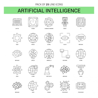 Artificial intelligence line icon set - 25 dashed outline style