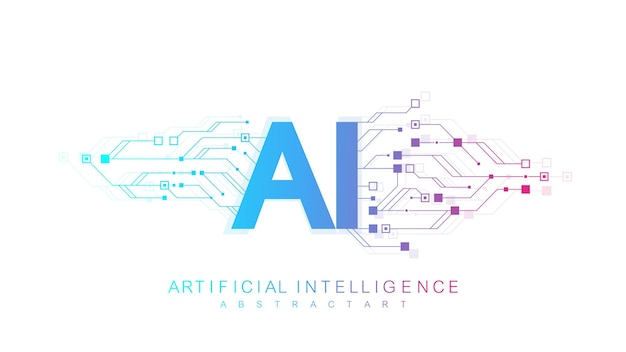 Artificial intelligence logo, icon. vector symbol ai, deep learning blockchain neural network concept. machine learning, artificial intelligence, ai.