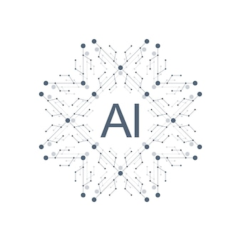 Artificial intelligence logo icon vector symbol ai. deep learning and future technology concept design.