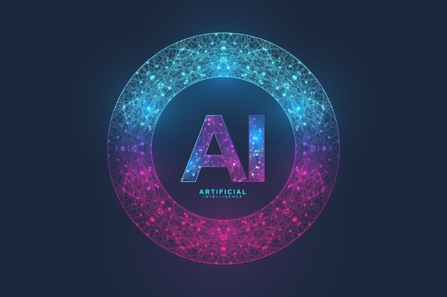 人工知能ロゴ神経叢効果。人工知能と機械学習の概念。ベクトル記号ai。ニューラルネットワークと別の最新技術の概念。テクノロジーsfの概念。