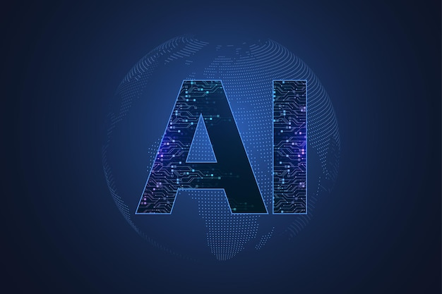 Artificial intelligence and machine learning concept futuristic vector symbol. artificial intelligence wireless technology design. neural networks and modern technologies concepts.