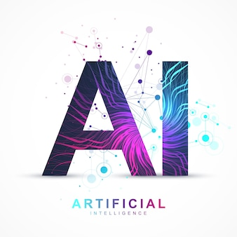 Artificial intelligence and machine learning vector concept in neural network. ai web banner design with human face. wave flow communication. digital network for artificial intelligence deep learning.