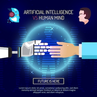Artificial intelligence mind composition with robot and human hands stretched to each other