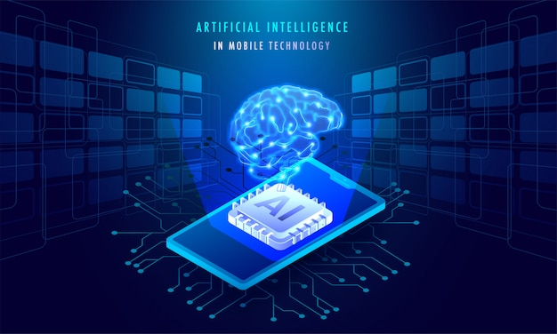 Artificial intelligence in mobile technology concept.