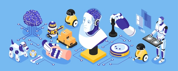 Artificial intelligence narrow isometric concept with industrial and house robots symbols isolated  illustration