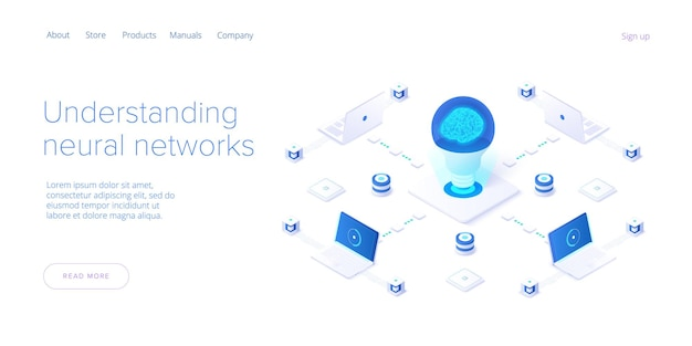 Artificial intelligence or neural network concept in isometric design.  web banner layout template