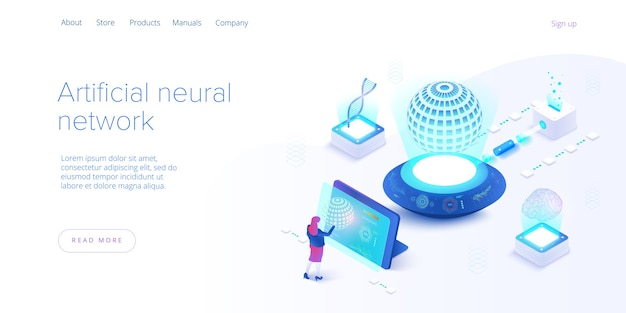 Artificial intelligence or neural network concept in isometric . neuronet or ai technology background with robot and human female. web banner layout template.