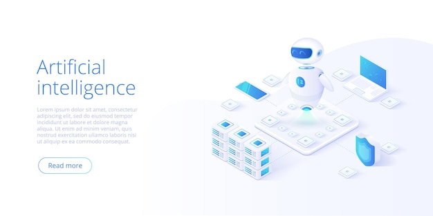 Artificial intelligence or neural network concept in isometric style