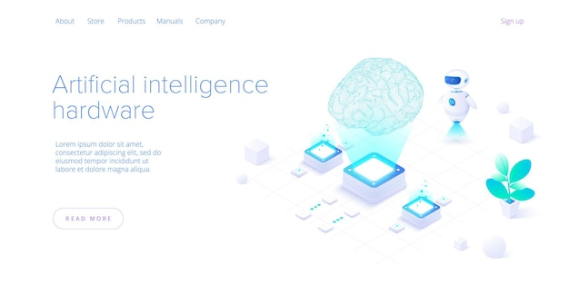 Artificial intelligence or neural network concept in isometric.