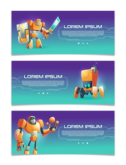 Artificial intelligence online service, robotics technologies startup, computer game portal cartoon