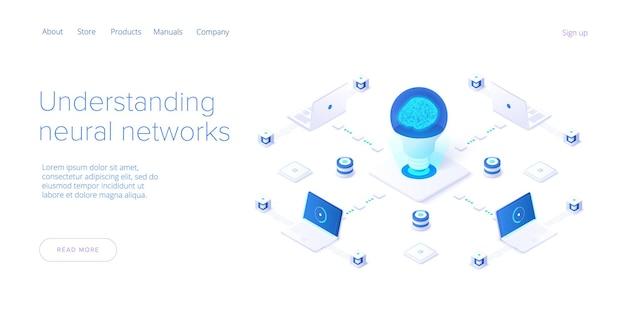 Концепция искусственного интеллекта или нейронной сети в изометрическом дизайне. шаблон макета веб-баннера