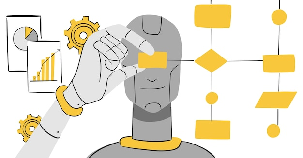 Artificial intelligence and processing -   illustration