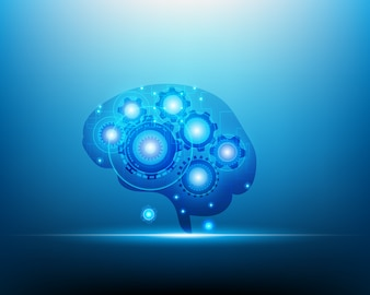 Artificial intelligence Robot brain concept
