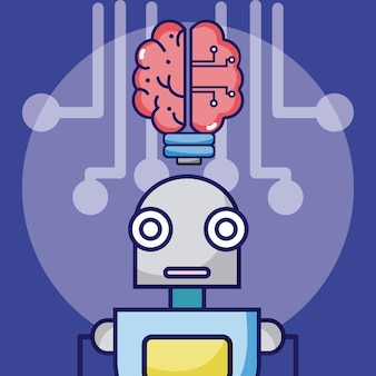 人工知能ロボットの漫画の概念