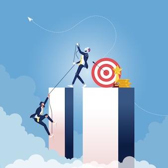 ビジネスマンが成功の概念に高く登るのを助ける人工知能ロボット