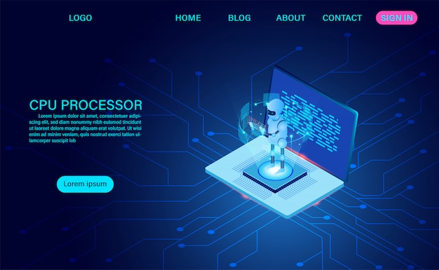 Artificial intelligence robot landing page
